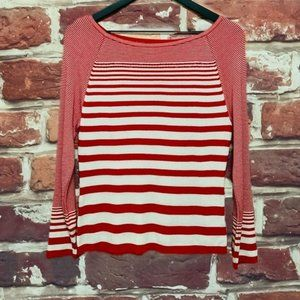 ANNE KLEIN RED STRIPED KNIT PULLOVER BLOUSE